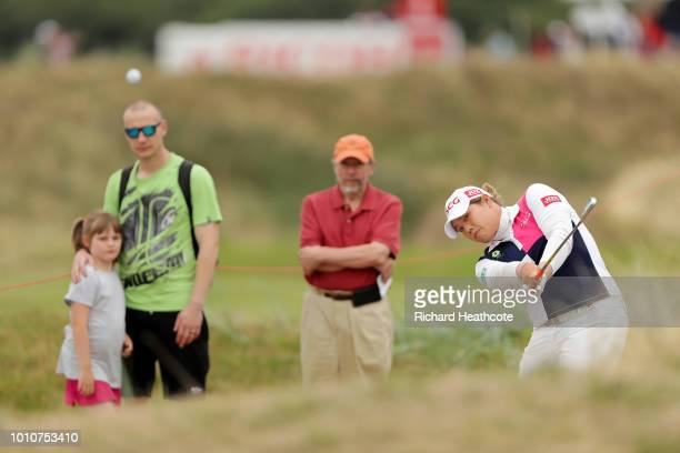 Ariya Jutanugarn of Thailand plays her second shot on the 4th hole during day three of Ricoh Women's British Open at Royal Lytham St Annes on August...