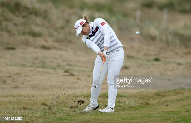 Ariya Jutanugarn of Thailand plays her second shot on the fourth hole during the second round of the Ricoh Women's British Open at Royal Lytham and...