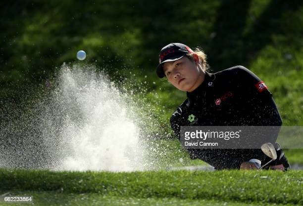 Ariya Jutanugarn of Thailand plays her second shot on the par 3 17th hole during the second round of the 2017 ANA Inspiration held on the Dinah Shore...