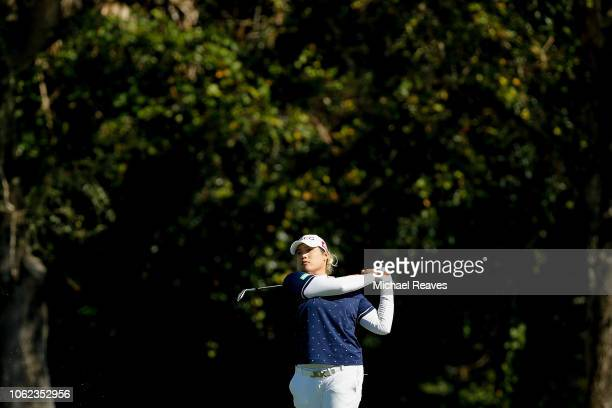 Ariya Jutanugarn of Thailand plays her second shot on the seventh hole during the second round of the CME Group Tour Championship at Tiburon Golf...