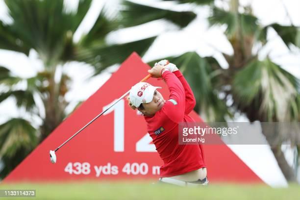 Ariya Jutanugarn of Thailand plays her shot from the 12th tee during the third round of the HSBC Women's World Championship at Sentosa Golf Club on...
