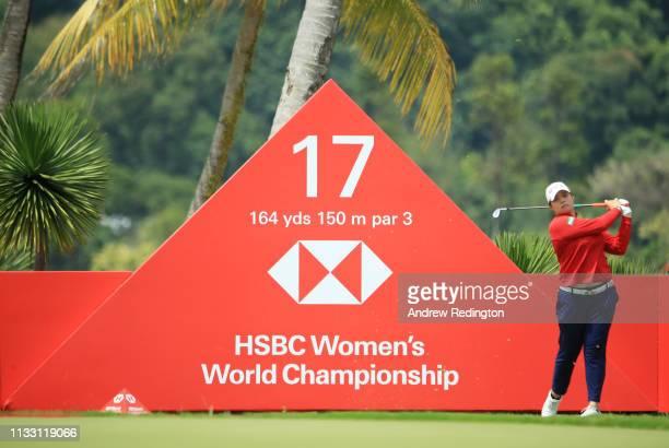 Ariya Jutanugarn of Thailand plays her shot from the 17th tee during the third round of the HSBC Women's World Championship at Sentosa Golf Club on...