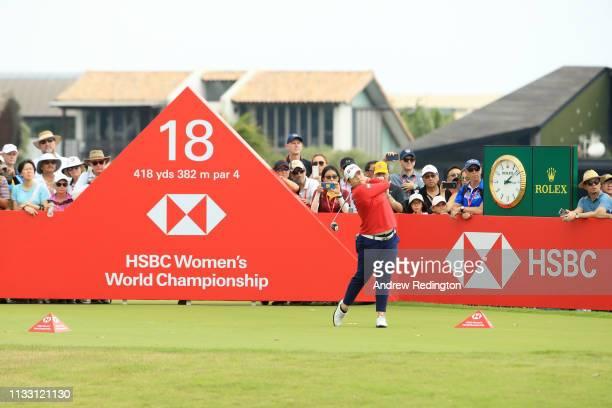 Ariya Jutanugarn of Thailand plays her shot from the 18th tee during the third round of the HSBC Women's World Championship at Sentosa Golf Club on...