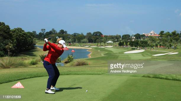 Ariya Jutanugarn of Thailand plays her shot from the fifth tee during the third round of the HSBC Women's World Championship at Sentosa Golf Club on...