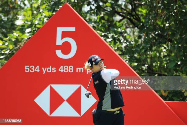 Ariya Jutanugarn of Thailand plays her shot from the fifth tee during the final round of the HSBC Women's World Championship at Sentosa Golf Club on...