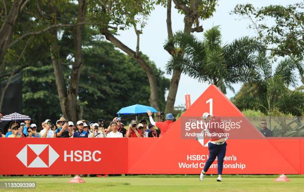 Ariya Jutanugarn of Thailand plays her shot from the first tee during the third round of the HSBC Women's World Championship at Sentosa Golf Club on...