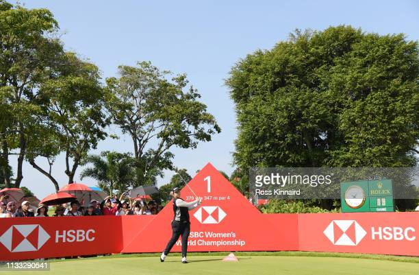 Ariya Jutanugarn of Thailand plays her shot from the first tee during the final round of the HSBC Women's World Championship at Sentosa Golf Club on...