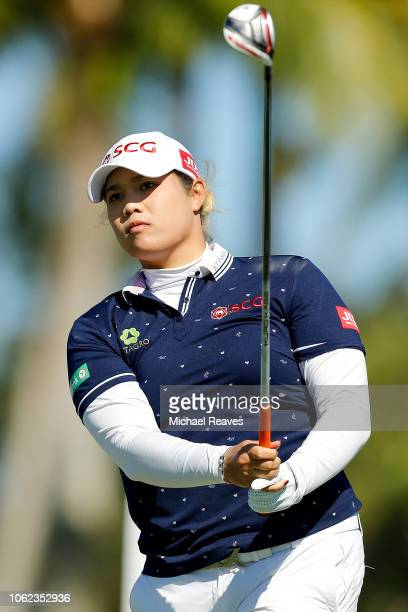 Ariya Jutanugarn of Thailand plays her shot from the ninth tee during the second round of the CME Group Tour Championship at Tiburon Golf Club on...