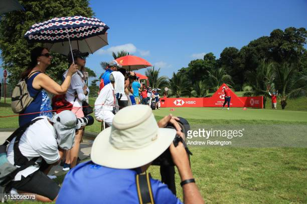 Ariya Jutanugarn of Thailand plays her shot from the second tee during the third round of the HSBC Women's World Championship at Sentosa Golf Club on...
