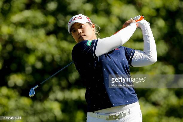 Ariya Jutanugarn of Thailand plays her shot from the seventh tee during the second round of the CME Group Tour Championship at Tiburon Golf Club on...