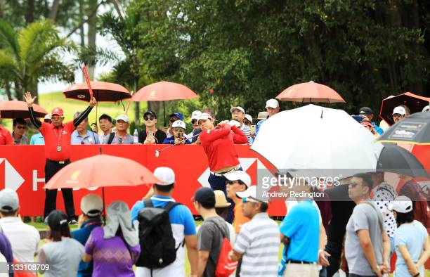 Ariya Jutanugarn of Thailand plays her shot from the tenth tee during the third round of the HSBC Women's World Championship at Sentosa Golf Club on...