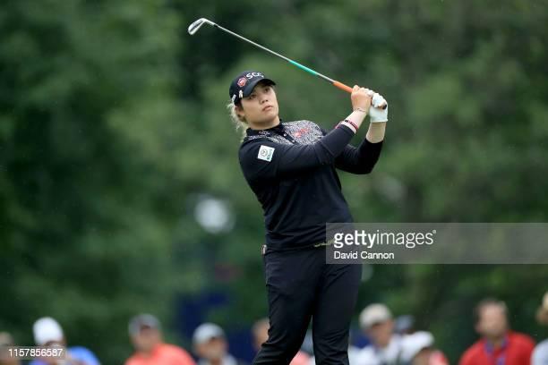 Ariya Jutanugarn of Thailand plays her tee shot on the par 3 13th hole during the final round of the 2019 KPMG Women's PGA Championship at Hazeltine...