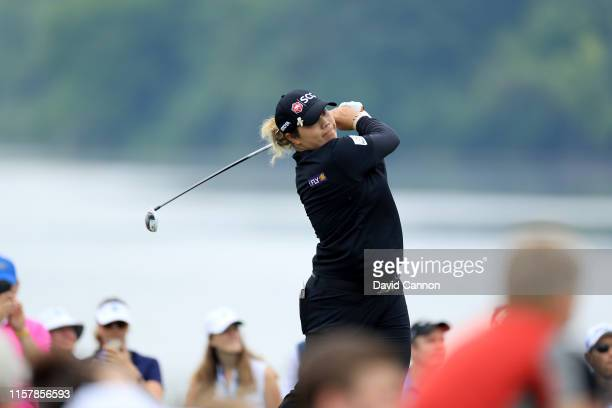 Ariya Jutanugarn of Thailand plays her tee shot on the par 5 11th hole during the final round of the 2019 KPMG Women's PGA Championship at Hazeltine...