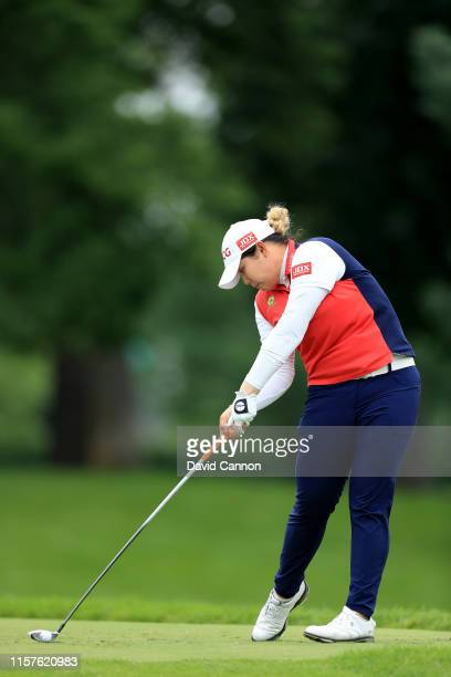 Ariya Jutanugarn of Thailand plays her tee shot on the par 5, seventh hole during the third round of the 2019 Women's PGA Championship at Hazeltine...