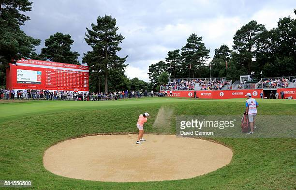 Ariya Jutanugarn of Thailand plays her third shot on the 18th hole during the second round of the 2016 Ricoh Women's British Open on July 29 2016 in...