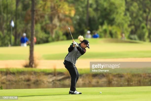 Ariya Jutanugarn of Thailand plays her third shot on the first hole during the final round of the LPGA CME Group Tour Championship at Tiburon Golf...