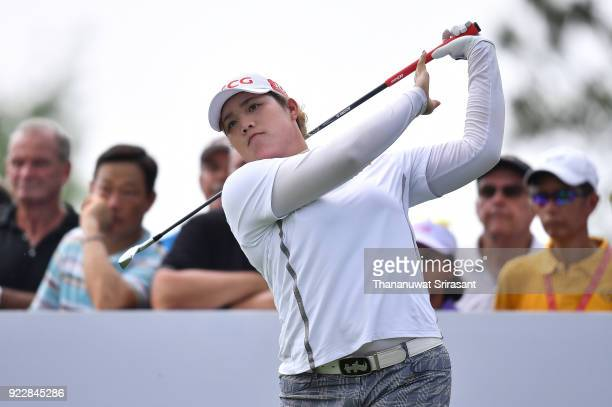Ariya Jutanugarn of Thailand plays the shot at hole 15th during the Honda LPGA Thailand at Siam Country Club on February 22 2018 in Chonburi Thailand