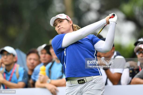 Ariya Jutanugarn of Thailand plays the shot during the Honda LPGA Thailand at Siam Country Club on February 23 2018 in Chonburi Thailand