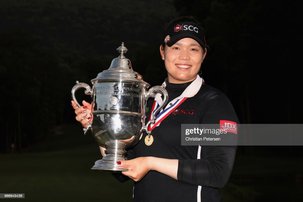 Ariya Jutanugarn of Thailand poses with the 2018 U.S. Women's Open tophy after winning in the final round at Shoal Creek on June 3, 2018 in Shoal Creek, Alabama.