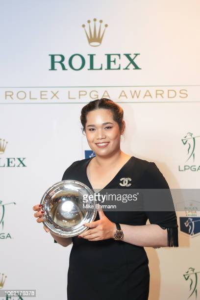 Ariya Jutanugarn of Thailand poses with the Rolex Annika Major Award trophy after the LPGA Rolex Players Awards at the RitzCarlton Golf Resort on...