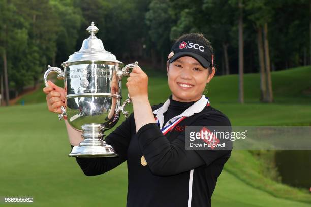Ariya Jutanugarn of Thailand poses with the trophy after winning the 2018 US Women's Open at Shoal Creek on June 3 2018 in Shoal Creek Alabama