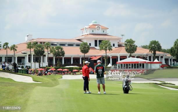 Ariya Jutanugarn of Thailand prepares to play a shot on the 18th hole during the third round of the HSBC Women's World Championship at Sentosa Golf...