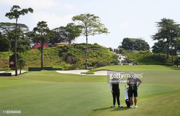 Ariya Jutanugarn of Thailand prepares to play her second shot on the third hole during the final round of the HSBC Women's World Championship at...