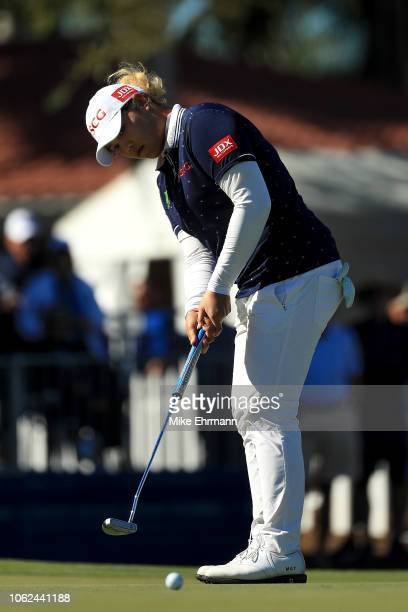 Ariya Jutanugarn of Thailand putts on the 18th green during the second round of the CME Group Tour Championship at Tiburon Golf Club on November 16...