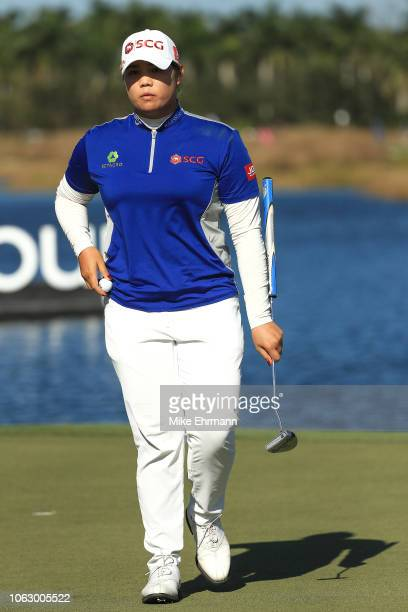 Ariya Jutanugarn of Thailand reacts after a putt on the 18th hole during the third round of the LPGA CME Group Tour Championship at Tiburon Golf Club...