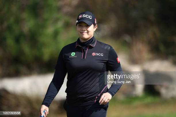 Ariya Jutanugarn of Thailand reacts after a putt on the 2nd green during the final round of the LPGA KEB Hana Bank Championship at Sky 72 Golf Club...