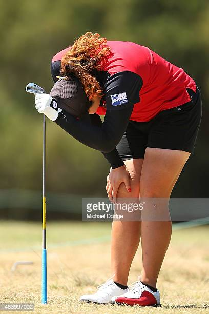 Ariya Jutanugarn of Thailand reacts after an approach shot on the 2nd hole during day three of the LPGA Australian Open at Royal Melbourne Golf...