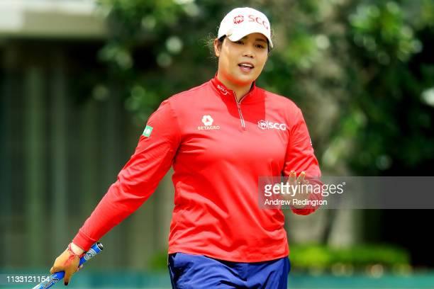 Ariya Jutanugarn of Thailand reacts on the 17th green during the third round of the HSBC Women's World Championship at Sentosa Golf Club on March 02...