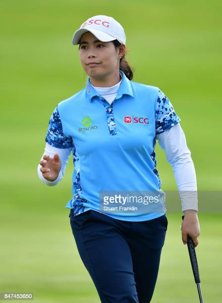 Ariya Jutanugarn of Thailand reacts to a putt during the weather delayed first round of The Evina Championship at Evian Resort Golf Club on September...