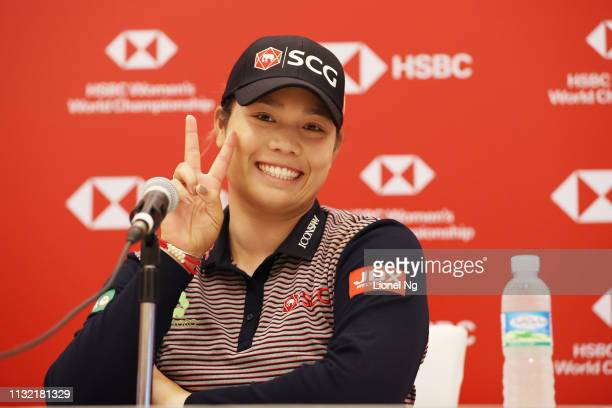 Ariya Jutanugarn of Thailand speaks to the media during a press conference prior to the HSBC Women's World Championship at Sentosa Golf Club on...