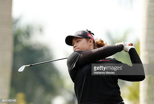 Ariya Jutanugarn of Thailand tees off on the 13th hole during the second round of the CME Group Tour Championship at Tiburon Golf Club on November 18...