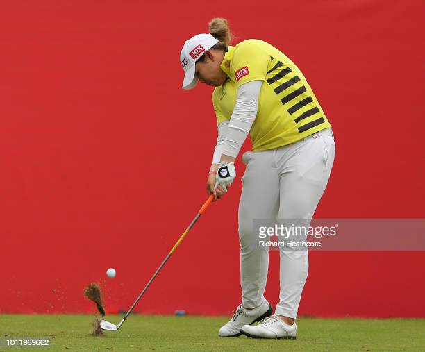 Ariya Jutanugarn of Thailand tees off on the 1st hole during day one of Ricoh Women's British Open at Royal Lytham St Annes on August 2 2018 in...