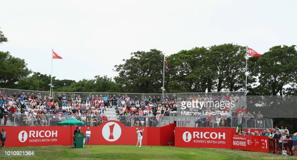 Ariya Jutanugarn of Thailand tees off the 1st hole during day three of the Ricoh Women's British Open at Royal Lytham St Annes on August 4 2018 in...