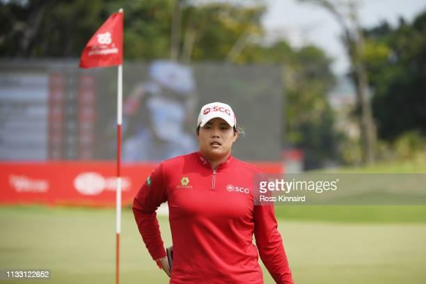Ariya Jutanugarn of Thailand walks form the 18th green during the third round of the HSBC Women's World Championship at Sentosa Golf Club on March 02...