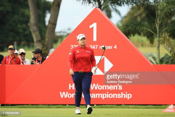 Ariya Jutanugarn of Thailand walks from the first tee during the third round of the HSBC Women's World Championship at Sentosa Golf Club on March 02...