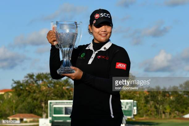 Ariya Jutanugarn of Thailand wins the tournament with a birdie on the eighteenth hole to break the threeway tie and win with a 15under for the week...