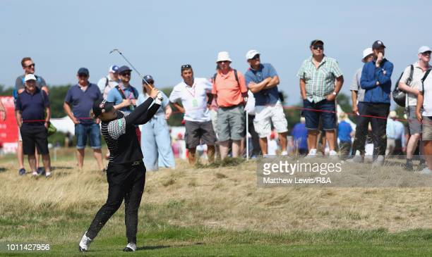 Ariya Jutanugarn of Thailandplays her second shot from the 2nd fairway during day four of the Ricoh Women's British Open at Royal Lytham St Annes on...