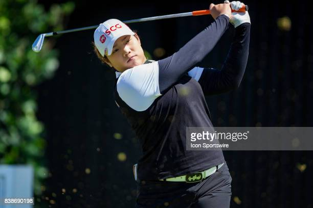 Ariya Jutanugarn tees off the 10th hole during the first round of the Canadian Pacific Women's Open on August 24, 2017 at The Ottawa Hunt and Golf...