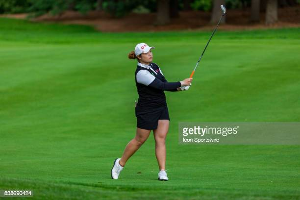 Ariya Jutanugarn watches her fairway shot on the 9th hole during the first round of the Canadian Pacific Women's Open on August 24, 2017 at The...