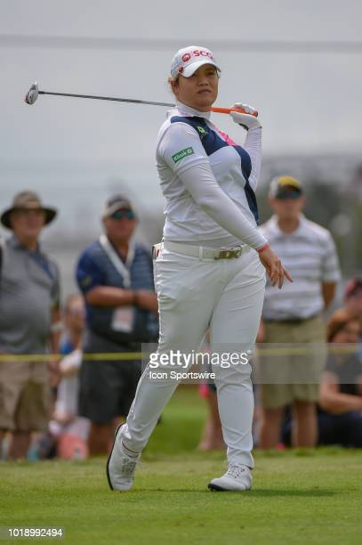 Ariya Jutanugarn watches her tee shot on 1 during round 3 play of the Indy Women in Tech Championship on August 18 2018 at Brickyard Crossing Golf...