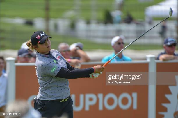 Ariya Jutanugarn watches her tee shot on 1 during round 4 play of the Indy Women in Tech Championship on August 19 2018 at Brickyard Crossing Golf...