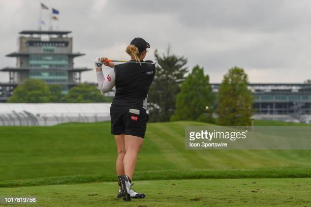 Ariya Jutanugarn watches her tee shot on 15 during round 1 play of the Indy Women in Tech Championship on August 15 2018 at Brickyard Crossing Golf...