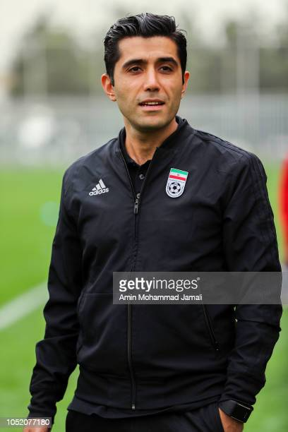 Ariyan Ghasemi translator looks on during the Iran Training Session on October 13 2018 in Tehran Iran