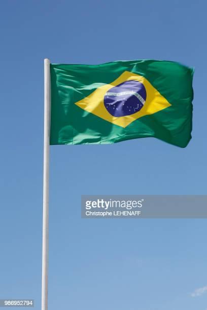 USA. Arizona. Brazilian flag floating in the sky.