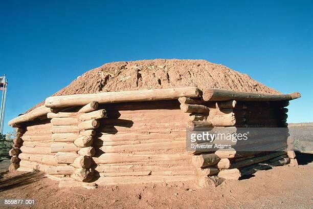 usa, arizona, canyon de chelly nat. monument, navajo traditional hogan - navajo hogan stock photos and pictures