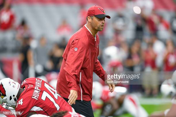 Arizona Cardinals assistant offensive line coach Steve Heiden looks on in game action during an NFL game between the Arizona Cardinals and the San...